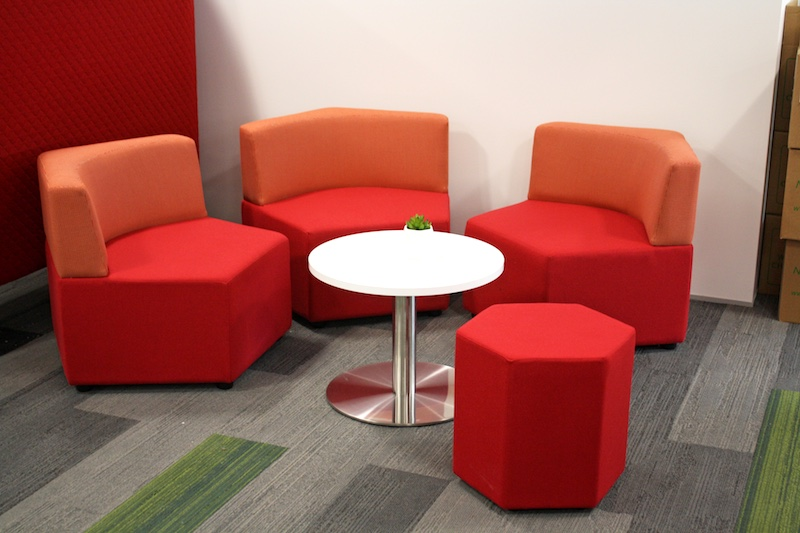 Waiting Area Red Chairs and Ottoman